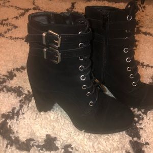black suede lace up booties